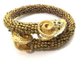 DOUBLE RAM HEAD Beaded Rhinestone Bracelet