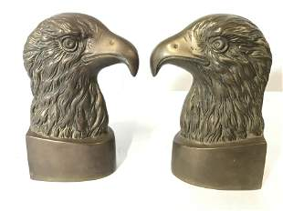 Pair Vintage Gold Toned Brass Eagle Head Bookends