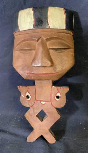 Hand Carved Wooden Wall Hanging Totem