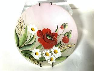 Lot 3 Painted Rose Quartz Plate, Trinket Dishes
