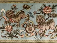 Vintage Handmade Foo Dog Chinese Silk Tapestry