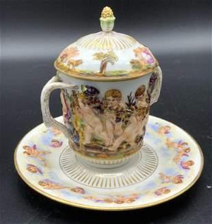 Set2 Antique CAPODIMONTE Porcelain Teacup & Saucer