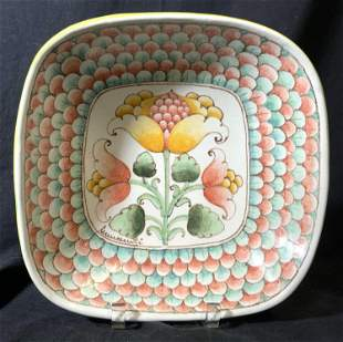 Colorful Floral Porcelain Centerpiece Bowl
