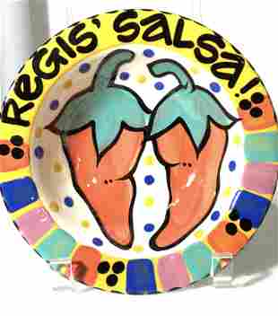 Regis' Salsa Glazed Ceramic Salsa Bowl,C. Bubany