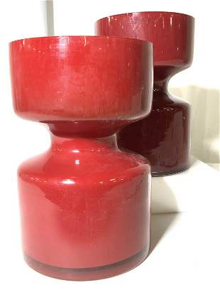 Pair Cranberry Red Glass Centerpiece Vase Vessels