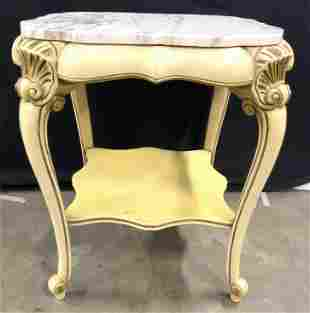 Pair Louis XV Marble Top Carved Wooden Side Tables