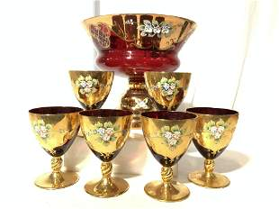 HANDMADE Ruby/Gilt BOHEMIA CRYSTAL SET 7, Czech R
