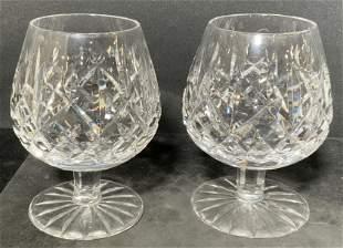 Pr WATERFORD Cut Crystal Stemware Brandy Sniffers
