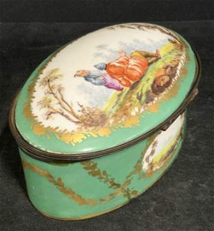 Antique HAND PAINTED Lidded Porcelain Trinket Box