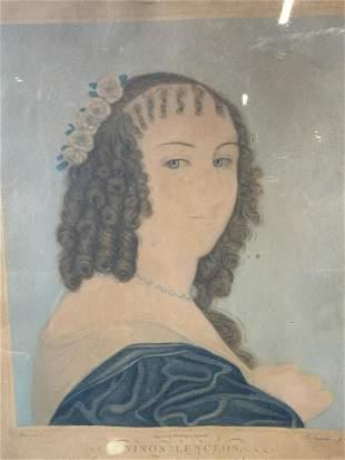Antique French Portrait Lithograph Artwork