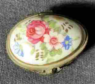 Antique LIMOGES French Porcelain Painted Pill Box