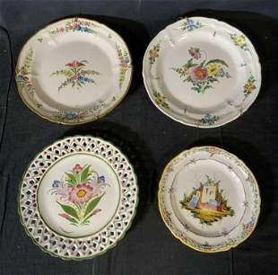 Lot 4 Portuguese & French Faience Plates