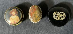 Lot 3 Mixed Media Pill Boxes, Brass & Agate & more