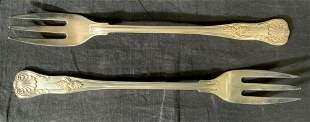 Pair Vintage Silver Plated Serving Forks