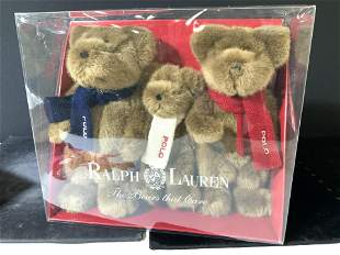 Box Set 3 Polo Ralph Lauren Teddy Bears Plush Toys
