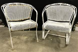 Lot 2 Vintage Iron Outdoor Patio Armchairs