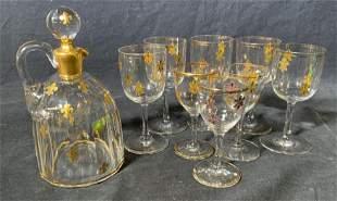 Set Crystal Cordial Glasses & Decanter
