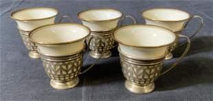 Set 5 LENOX Teacups & GORHAM Sterling Holders