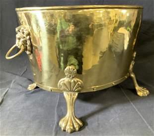 Grand Brass Bucket w Claw Feet & Lion Heads
