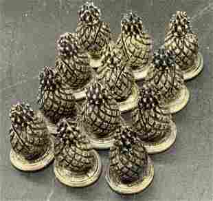 Set 12 Silver Plated Pineapple Place Card Holders