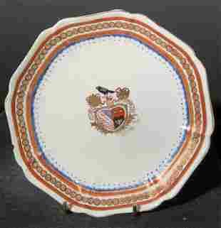Hand Painted Gilt Accent Crest Porcelain Plate