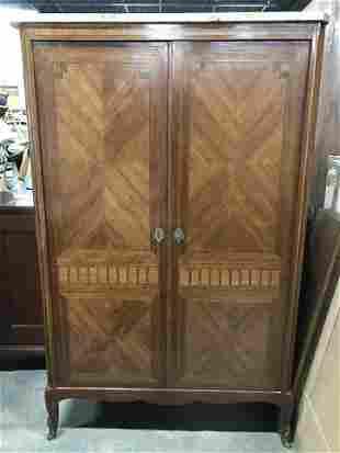Vintage Marble Top Wooden Cabinet W Shelves