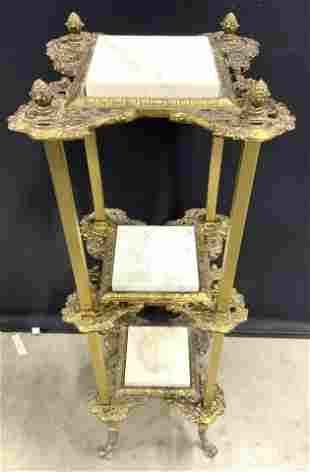 Vintage Ornate Brass 3 Tier Stand W Marble Inserts