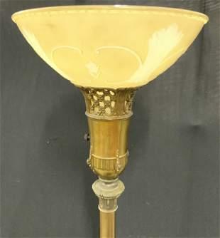 Vintage Victorian Style Brass Floor Lamp W Shade