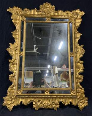 Gilt Wood Hand Carved Mirror