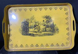 Vintage Yellow Toleware Handled Tray