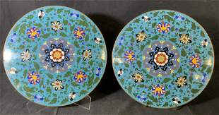 Pair Champleve Plaques with Floral Motifs