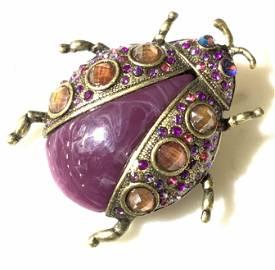 Bronze Toned Rhinestone Lady Bug Brooch Jewelry