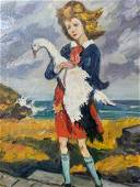 Oil Painting on Canvas Girl With Goose, Artwork