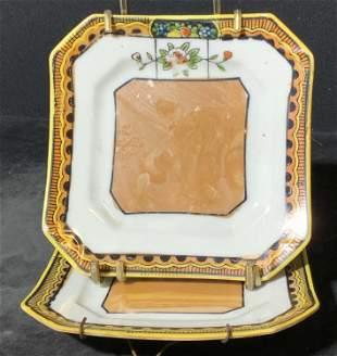Pair Hand Painted Porcelain Plates, Japan