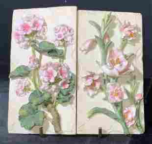 Pair Ceramic Floral Wall Tiles