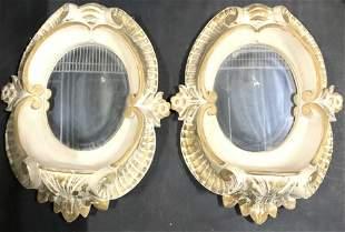 Pair Gold Leaf & Terra Cotta Sculpted Wall Mirrors