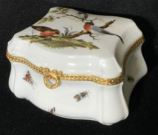 LIMOGES French Porcelain Bird Motif Trinket Box