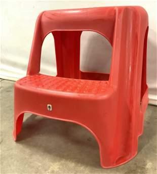 Vintage Retro Red Plastic Kitchen Step Stool