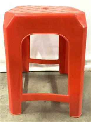 Vintage Retro Red Plastic Kitchen Stool