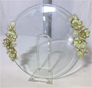 Ladies Enamel Flower & Bevel Glass Vanity Tray