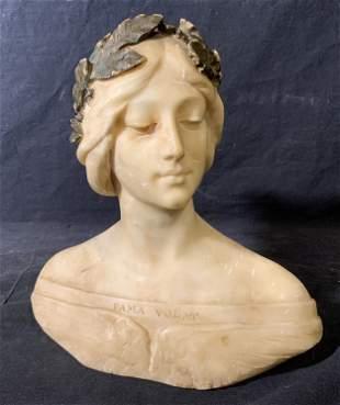 Hand Carved Stone Bust, Art Nouveau