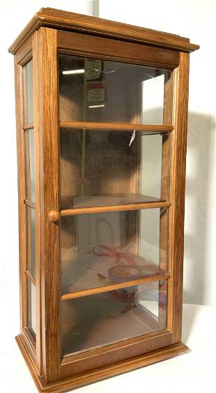 Mission Style Wall or Table Wood Curio Cabinet