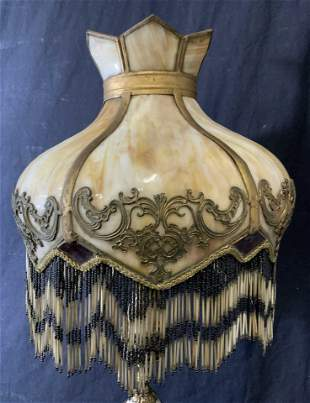 Vintage Marble & Brass Tabletop Lamp