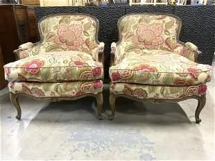 Pair Vintage Upholstered Victorian Style Bergeres