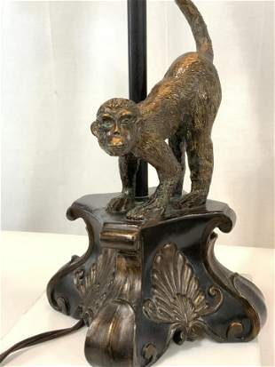 MONKEY FIGURAL LAMP, Brushed Bronze Metal