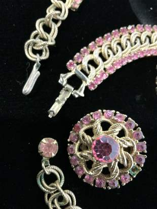 MID CENTURY 3 Piece Pink Crystal Jewelry Set