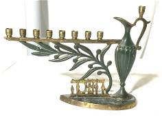 Collectible Enameled Claret Jug Menorah, Israel