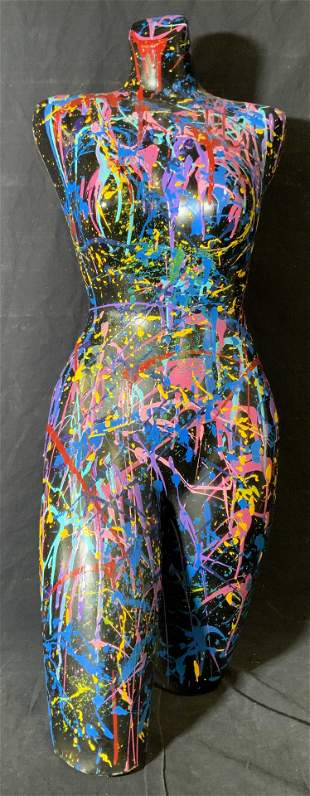 Abstract Expressionist Painted Mannequin Bust