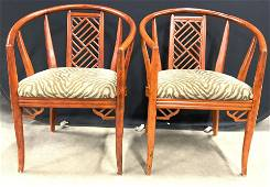 Pair Retro Palm Beach Style Barrel Back Chairs