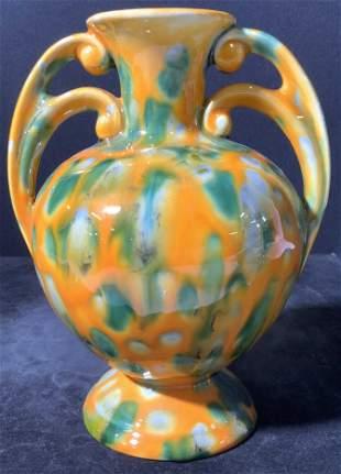 Signed JAN Glazed Ceramic Handled Vase